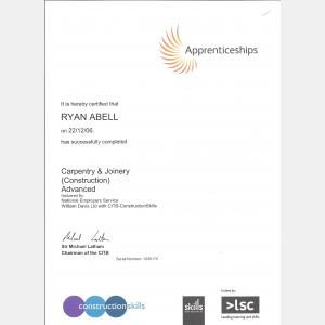 Carpentry Apprenticeship Certificate
